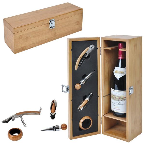 Футляр для бутылки с винными принадлежностями (4 предмета), бежевый - фото № 1