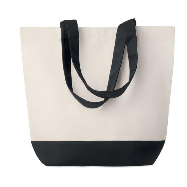 Холщовая пляжная сумка, бежевая/чёрная, 170г/м2 - фото № 1