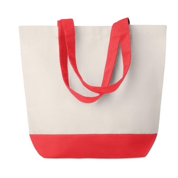 Холщовая пляжная сумка, бежевая/красная, 170 г/м2 - фото № 1
