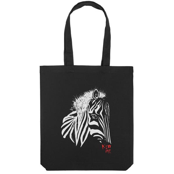 Холщовая сумка «Арт-рокстар. Kiss me», черная - фото № 1