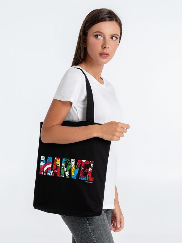 Холщовая сумка Marvel Avengers, черная - фото № 1