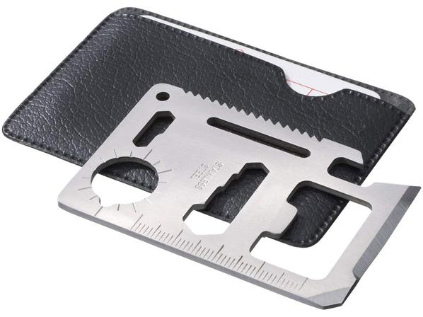 Инструмент многофункциональный в форме карты в чехле, черный, серый - фото № 1
