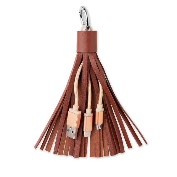 Брелок кабель 3 в 1: micro USB/ Lighting/ Type С, Avenue Tassel, темно-коричневый - фото № 1