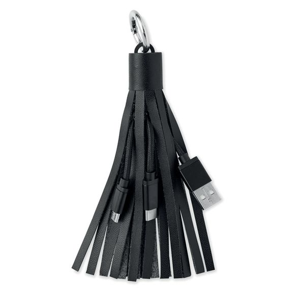 Брелок кабель 3 в 1: micro USB/ Lighting/ Type С, Avenue Tassel, антрацит - фото № 1