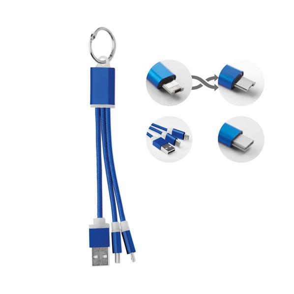 Брелок кабель 3 в 1: micro USB/ Lighting/ Type С, синий - фото № 1