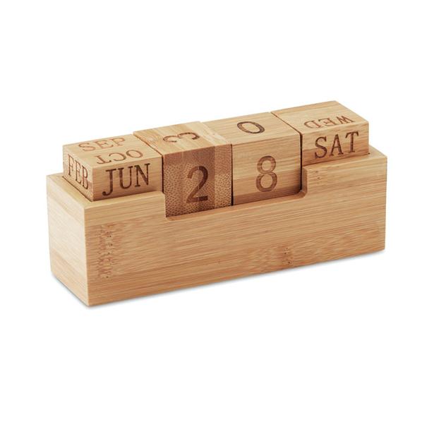 Календарь бамбуковый, бежевый - фото № 1