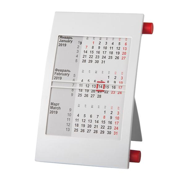 Календарь настольный на 2 года, белый/ красный - фото № 1