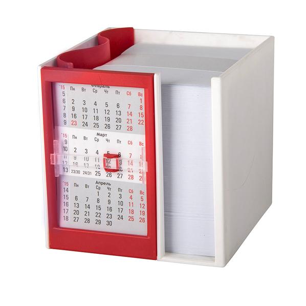 Календарь настольный на 2 года с кубариком, белый, красный - фото № 1