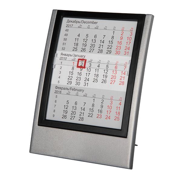 Календарь настольный на 2 года, черный/ серый - фото № 1