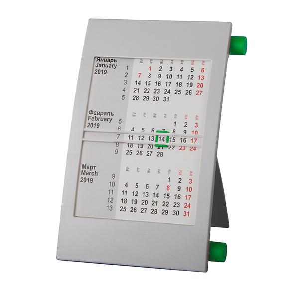 Календарь настольный на 2 года, зеленый/ серый - фото № 1