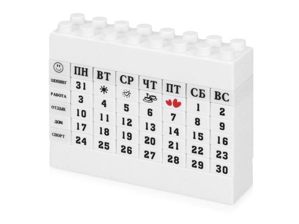 Календарь в виде конструктора Лего, белый - фото № 1