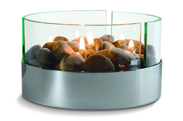 Камин настольный Magnifique с базальтовыми камнями, ver.2, серебристый / прозрачный - фото № 1
