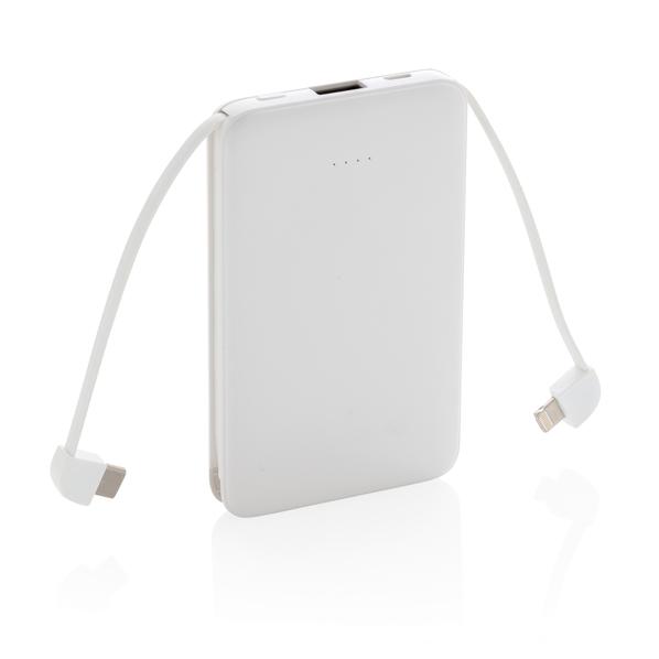 Внешний аккумулятор XD Collection, 5000 mAh, встроенные кабели, белый - фото № 1