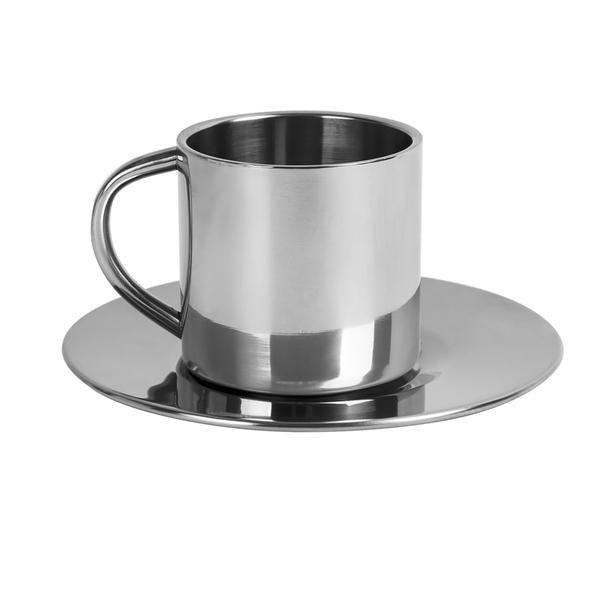 Кофейная пара, 150 мл, металл, лазерная гравировка, серый - фото № 1