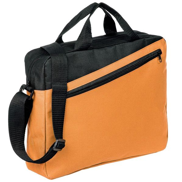 Конференц-сумка Unit Diagonal, оранжевая/ черная - фото № 1