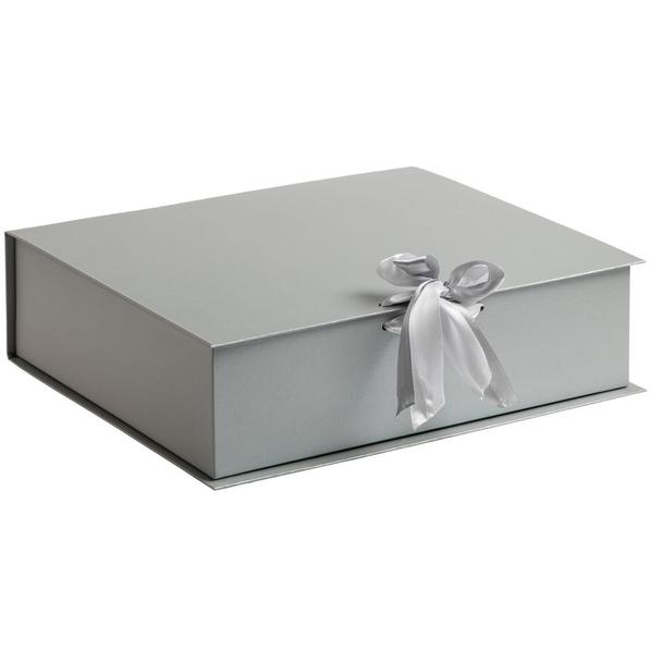 Коробка на лентах Tie Up, серебристая - фото № 1