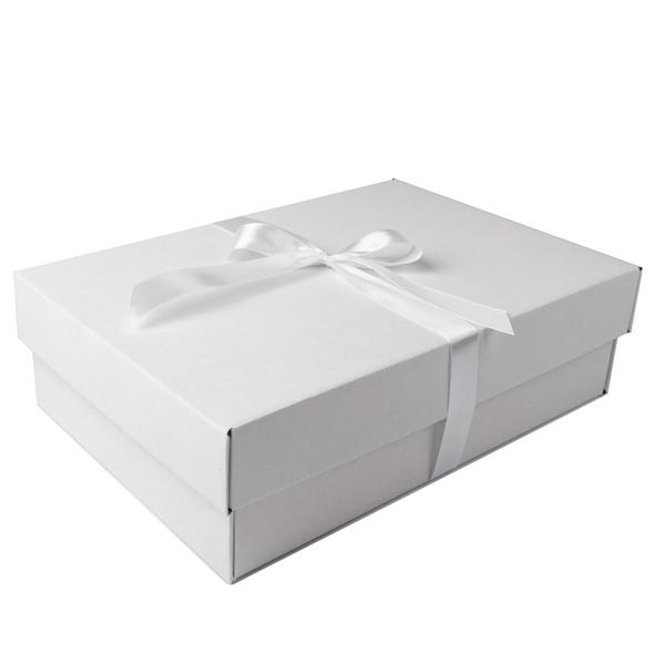 Коробка подарочная с атласной лентой, белая / крафт - фото № 1
