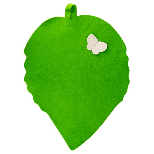 Коврик для сауны из войлока «Банный лист», зеленый - фото № 1