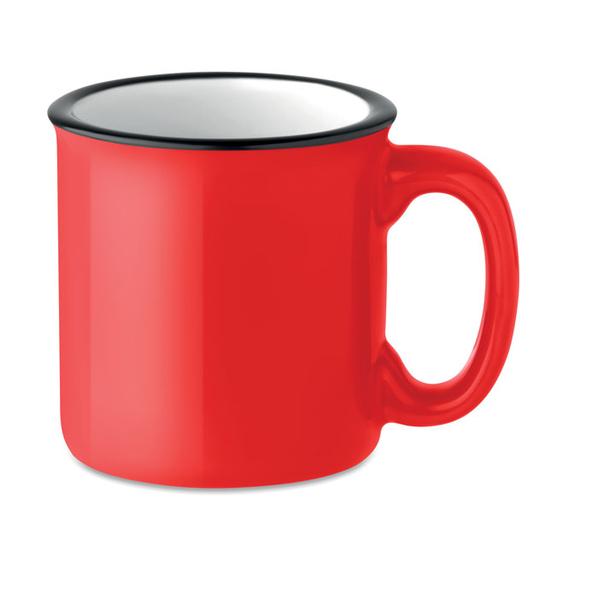 Кружка керамическая ретро, красный - фото № 1
