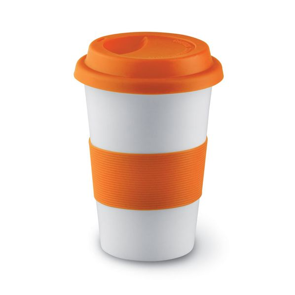 Кружка фарфоровая с силиконовым ободком, белый/оранжевый