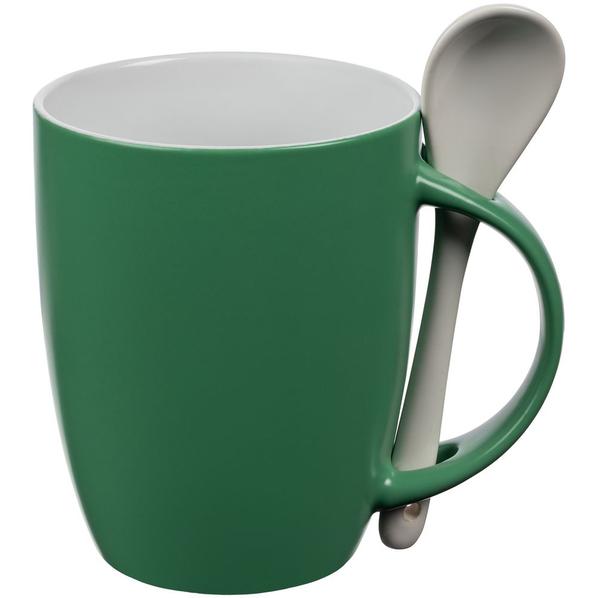 Кружка с ложкой Molti Cheer Up ver.2, зеленая - фото № 1