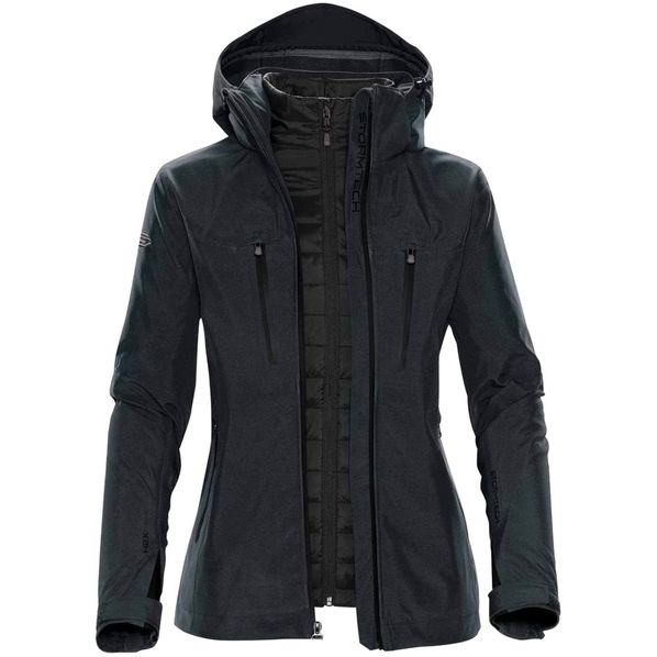 Куртка-трансформер с капюшоном женская Stormtech Matrix, серая/ чёрная - фото № 1