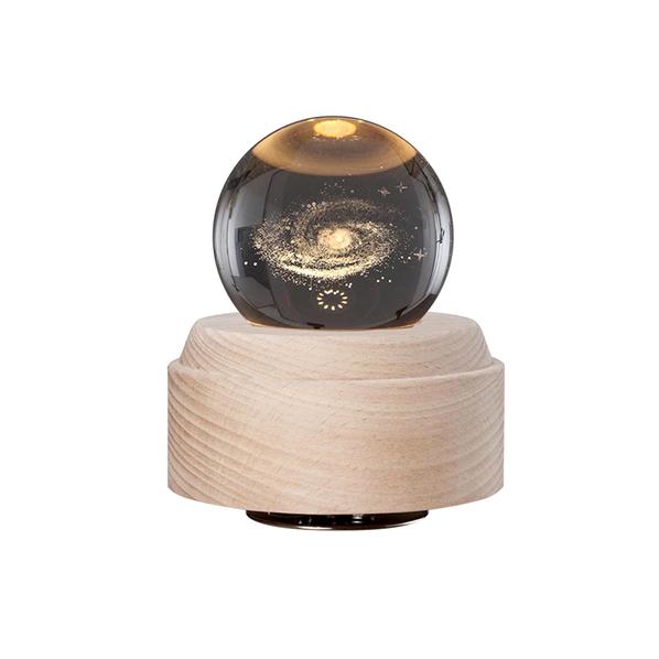 Лампа настольная Univero с функцией проекторного освещения и Bluetooth-колонкой, крафт / прозрачная - фото № 1