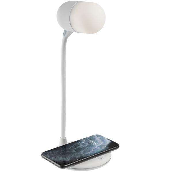 Лампа с колонкой и беспроводной зарядкой lampaTon, белая - фото № 1