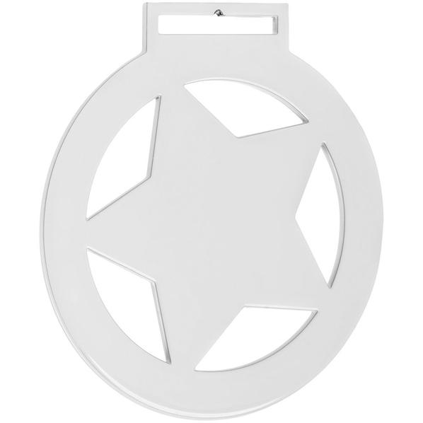 Медаль металлическая Steel Star, белая - фото № 1