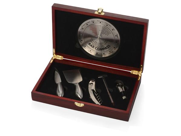 Подарочный набор для вина и сыра Montagne de Reims, серый, коричневый - фото № 1