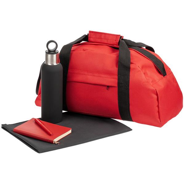 Набор Back on Track: спортивная сумка, полотенце, ежедневник, бутылка, ручка, красный / чёрный - фото № 1