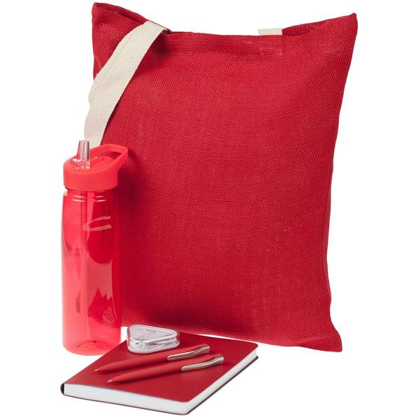 Набор Beach Writer: спортивная бутылка, наушники-вкладыши, блокнот Mild, ручка шариковая, карандаш механический, холщовая сумка, красный - фото № 1