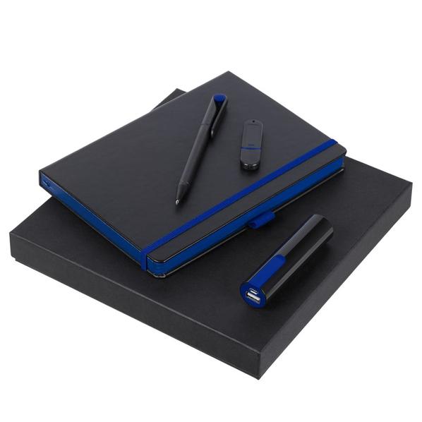 Набор Black Maxi: ежедневник Tone, ручка шариковая Prodir, ПЗУ, флешка 8 Гб, черный/ синий