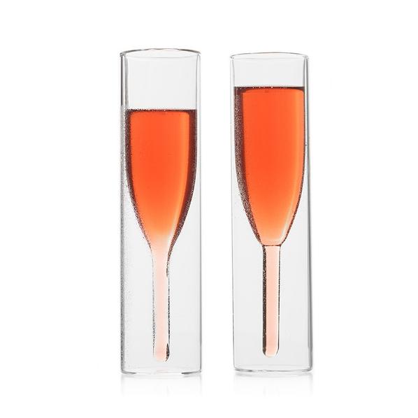 Набор оригинальных бокалов для шампанского, прозрачный - фото № 1