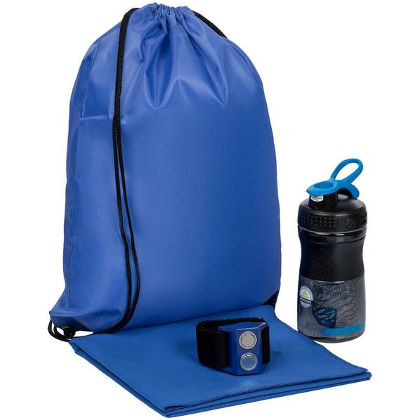 Набор Boon: спортивный шейкер, магнитный держатель для спортивных шейкеров, полотенце Atoll Medium, синий - фото № 1