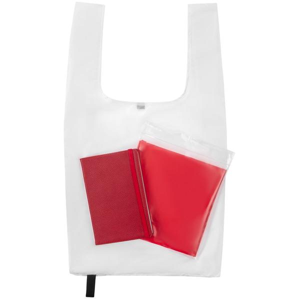Набор Brainstorm: ежедневник Flex Shall, сумка складная Packins, дождевик CloudTime, красный / белый - фото № 1