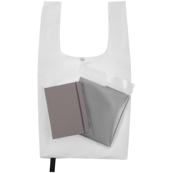 Набор Brainstorm: ежедневник Flex Shall, сумка складная Packins, дождевик CloudTime, серый / белый - фото № 1