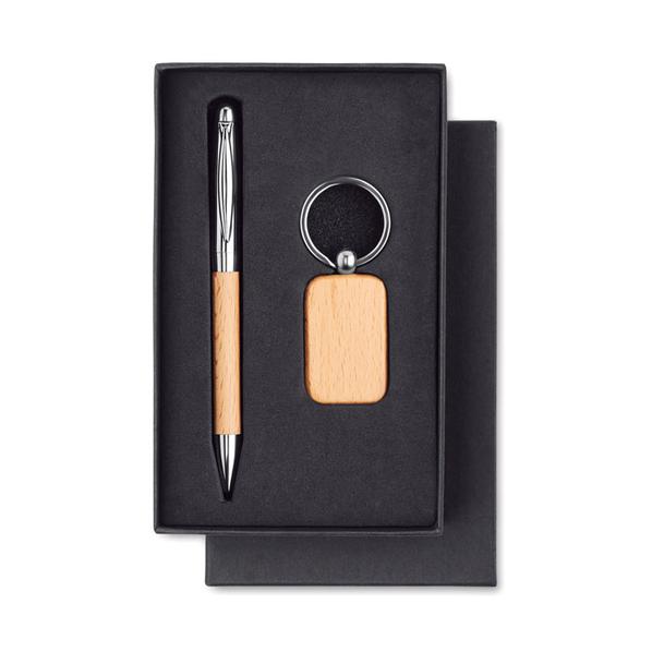 Набор: брелок и ручка, бежевый - фото № 1