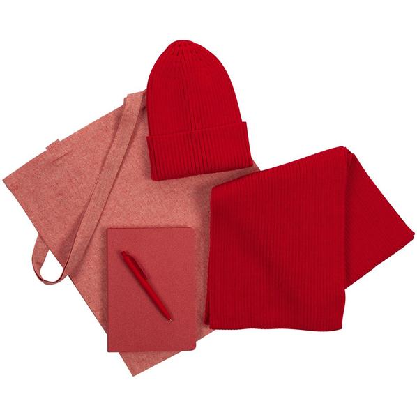 Набор подарочный Brooklyn: шапка, шарф, сумка, ручка, ежедневник, красный - фото № 1