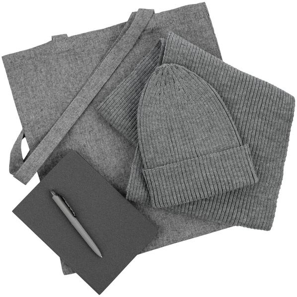 Набор подарочный Brooklyn: шапка, шарф, сумка, ручка, ежедневник, серый - фото № 1