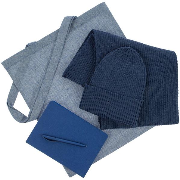 Набор подарочный Brooklyn: шапка, шарф, сумка, ручка, ежедневник, синий - фото № 1
