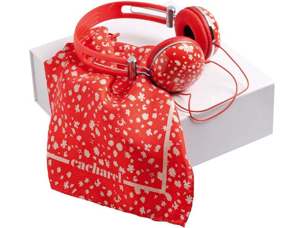 Набор Cacharel: дизайнерские наушники проводные, платок шелковый, красный - фото № 1