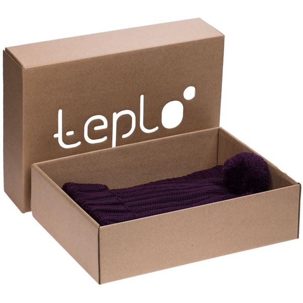 Набор teplo Chain: шапка, шарф, баклажановый - фото № 1