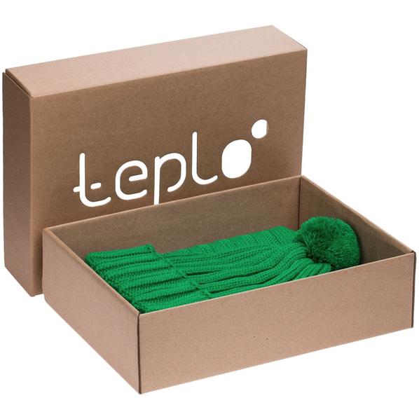 Набор teplo Chain: шапка, шарф, зеленый - фото № 1