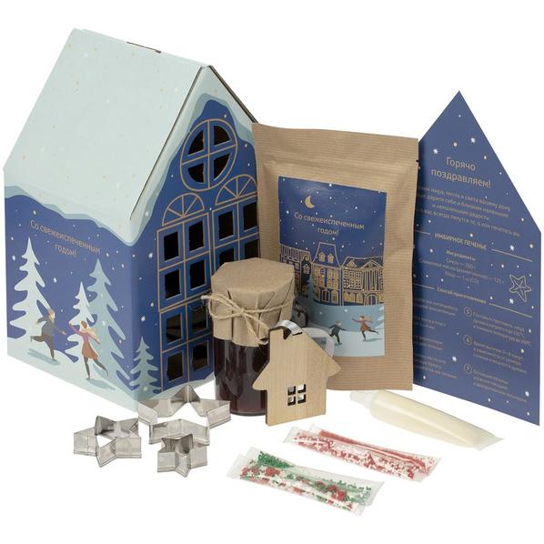 Набор Christmassy: смесь для имбирного печенья, набор для декора, варенье, деревянная подвеска, синий - фото № 1