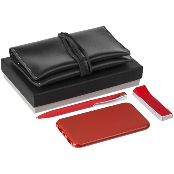 Набор Classy: внешний аккумулятор Uniscend Half Day Compact 5000 mAh, флешка Memo 8 Гб, ручка шариковая S45 ST, органайзер для зарядных устройств Apache, красный - фото № 1