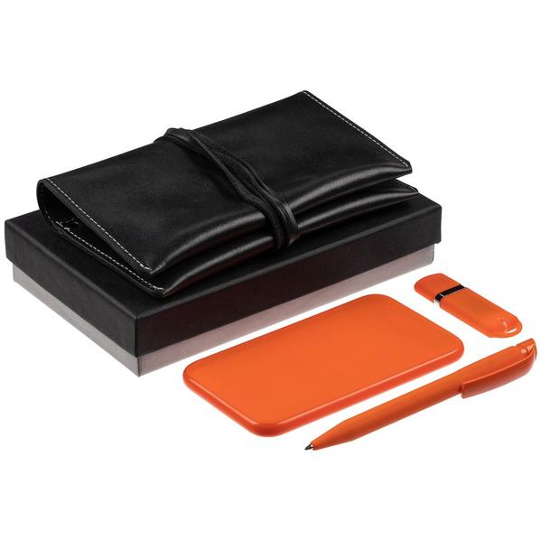 Набор Classy: внешний аккумулятор Uniscend Half Day Compact 5000 mAh, флешка Memo 8 Гб, ручка шариковая S45 ST, органайзер для зарядных устройств Apache, оранжевый - фото № 1