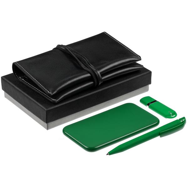 Набор Classy: внешний аккумулятор Uniscend Half Day Compact 5000 mAh, флешка Memo 8 Гб, ручка шариковая S45 ST, органайзер для зарядных устройств Apache, зеленый - фото № 1