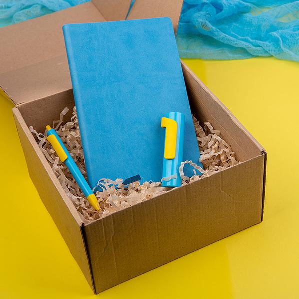 Набор Colorspring: внешний аккумулятор 3000 мАч, ручка, бизнес-блокнот, голубой/ желтый - фото № 1