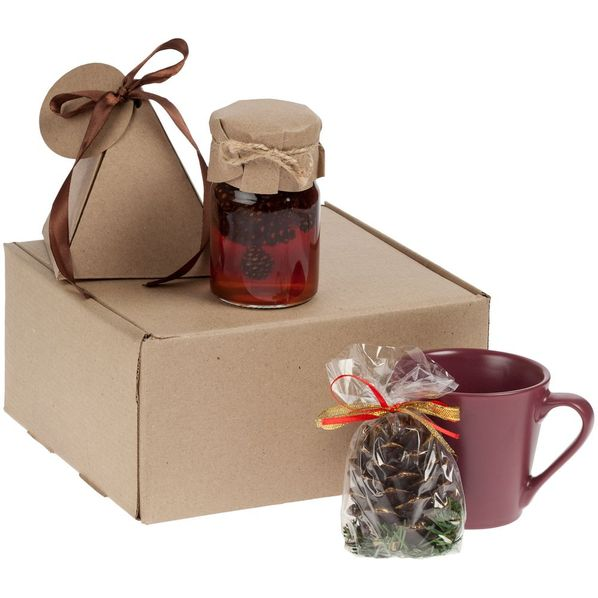 Набор Cone-Teaki: кружка Modern Bell, варенье Jammy, чай Breakfast Tea, свеча, бордовый / крафт - фото № 1